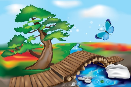 zen stone: Oriental Garden with creek and wooden Bridge  Zen Landscape  Illustration