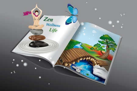 magazine page: Book with Zen Landscape and Yoga Girl Illustration