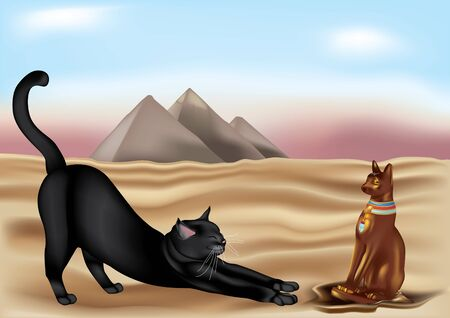 statuette: Egyptian Cat adoring Egyptian divinity statuette Illustration