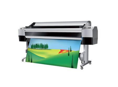 トスカーナの風景とプロッターの印刷