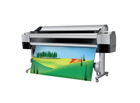 Plotter with Tuscan Landscape printed Vector