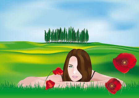 Beautiful girl lying in the Tuscan countryside Vector
