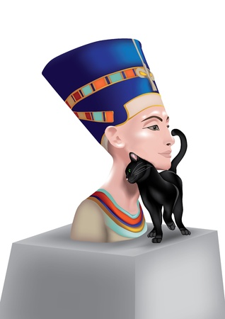 bust: Bust of Nefertiti, Queen of Egypt, with black cat which rubs