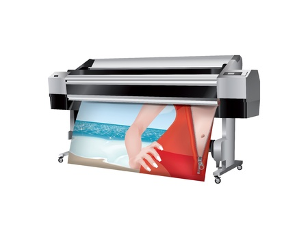 Plotter with bikini girl in trasparent robes printed Vector