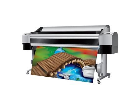 imprenta: Plotter con puente de madera impresa Vectores