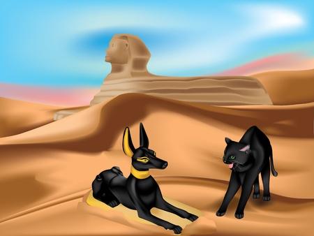 esfinge: Estatuilla de gato de Anubis y de ira en las dunas de arena del desierto con la Esfinge
