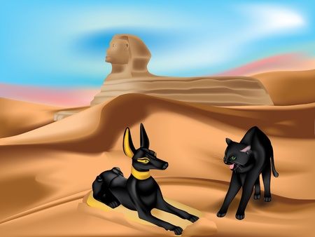 crypt: Statuette of Anubis and angry cat in sand dunes of Desert with Sphinx