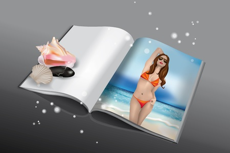Book or magazine with stone, shells and bikini girl on beach Illustration