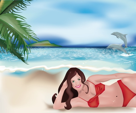 Beautiful and smiling girl with red bikini lying on tropical beach with jumping dolphins among the waves Vector