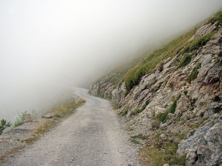 Road on the Col de Tende, pass on the border between Italy and France Imagens - 14163708