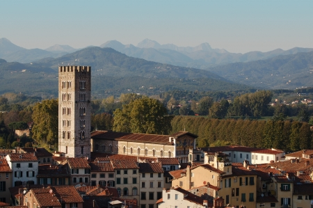 Panorama of Lucca with Cathedral Stock Photo - 14148432