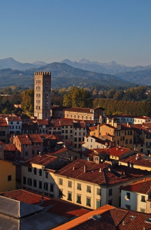 Panorama of Lucca from Guinigi Tower, Tuscany-Italy, n.2 Stock Photo - 14163230