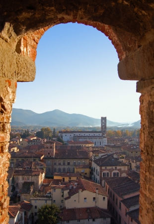 Panorama of Lucca from Guinigi Tower, Tuscany-Italy Stock Photo - 14163258