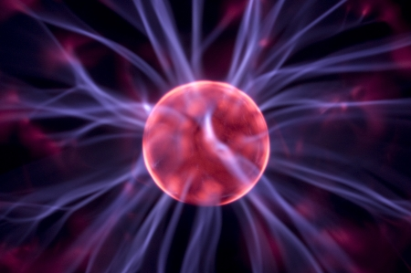 Tesla lightning from plasma ball, close up photo