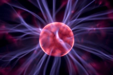 Tesla lightning from plasma ball, close up photo