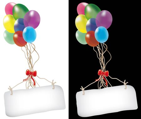 multicolored balloons with banner for your message, isolated on white and black background Stock Vector - 14163833