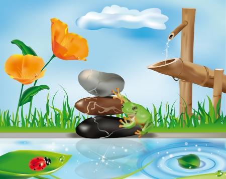タケ噴水、石の上にカエルおよび葉の上のてんとう虫と禅シーン