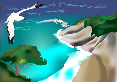 Beach and seagull, vector illustration Vector