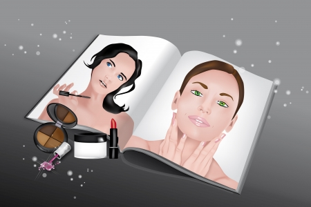 Beauty Magazine with various cosmetics for facial care and beautiful girls printed