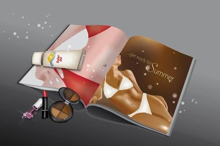 Beauty Magazine with various cosmetics, solar oil and bikini girls printed