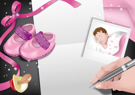 Writing a birth announcement with pink ribbon, pacifier, small pink shoes Stock Vector - 14164173