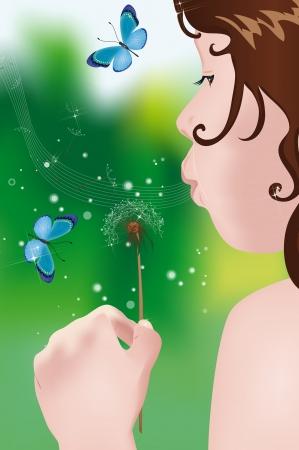 Little girl blowing on dandelion in the garden