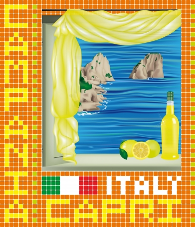 beach panorama: Beautiful mosaic with a window on Faraglioni of Capri and Limoncello bottle on the sill