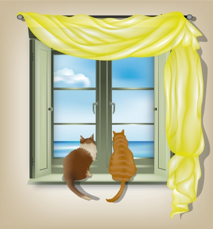 window curtains: Two cats on inner window sill looking out of marine scene