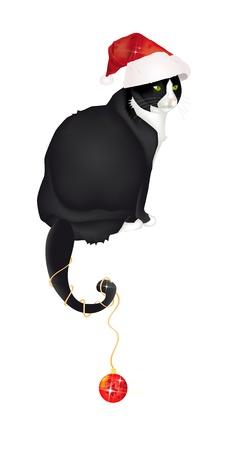 kerstmuts: Mooie zwart-witte kat zit met kerstmuts en Kerstmis bal gedraaid in de staart Stock Illustratie