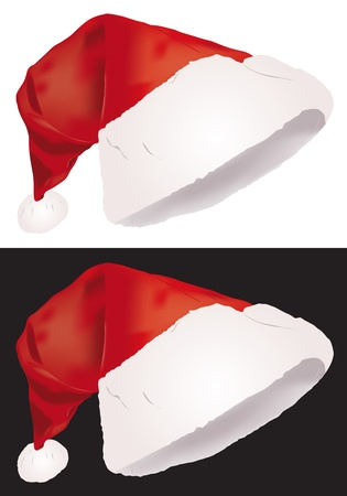 Christmas hat, vector illustration isolated on white and black background Stock Vector - 14164264
