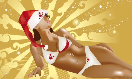 Christmas sexy girl lying on gold background Stock Vector - 14164206