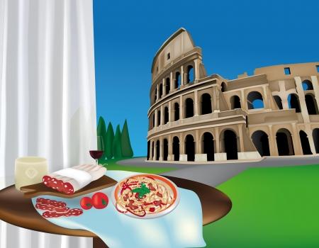 rome italie: Vue de Colosseo � Rome, en Italie, et une table avec des produits typiques Illustration
