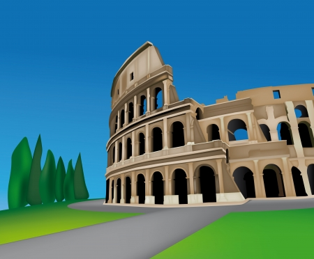 colosseo: View of Colosseo in Rome, Italy Illustration
