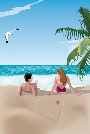romantic getaway: Couple on beach lying near a drawn heart