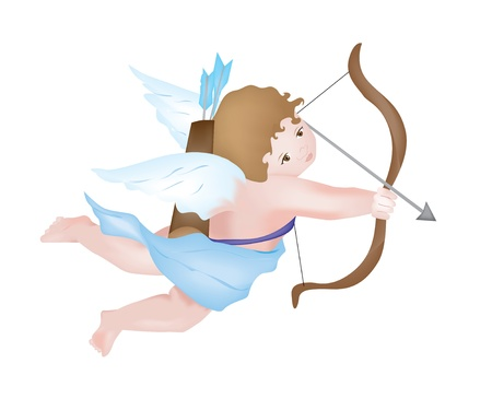 Cute Cupid shooting arrows, isolated on white background Stock Vector - 14164246