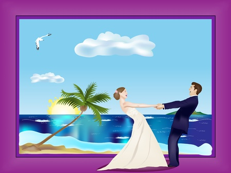 sea side: Dancing married couple on beach in frame