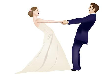 Pareja de baile casado aisladas sobre fondo blanco Ilustración de vector