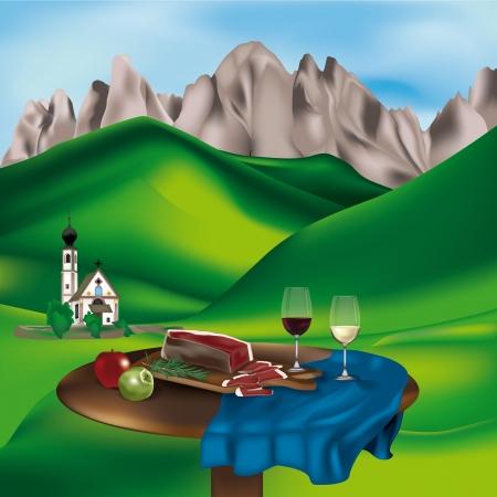 Dolomiten-Landschaft mit typischen Produkten: Speck, Äpfel und Wein Vektorgrafik