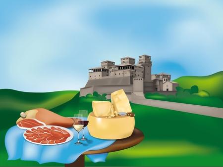 parmigiano: Paesaggio emiliano con un castello e prodotti tipici: prosciutto di Parma, Parmigiano Reggiano e vini