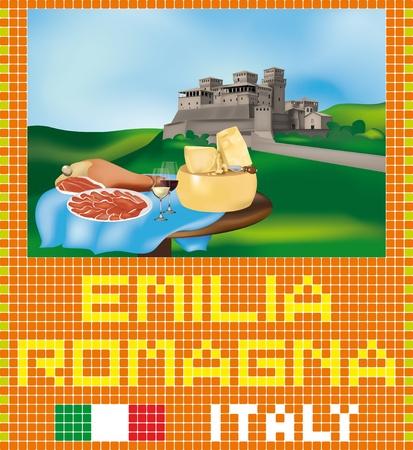 parmigiano: Mosaico emiliana con un castello e prodotti tipici: prosciutto di Parma, Parmigiano Reggiano e vini