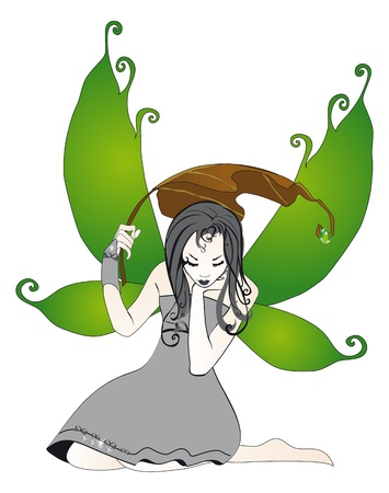 Fairy in the rain isolated on white background Stock Vector - 14164248