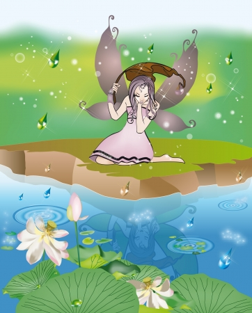 Fairy in the rain reflected in the pond Vector