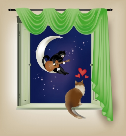 Cat playing guitar on the moon for him listening lover on the sill of a window Vector
