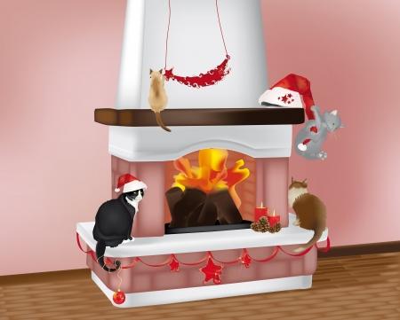 クリスマスの装飾と暖炉に 4 匹の猫の美しいクリスマス シーン  イラスト・ベクター素材