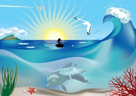 gaviota: pescador que las filas en la superficie como bajo el agua los delfines