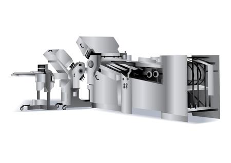 印刷ソリューション: 本バインダリの折り畳み機  イラスト・ベクター素材