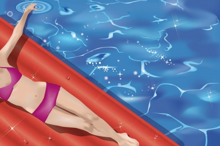 girl lying on airbed by the pool, view from above Vector