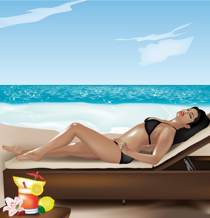 Beautiful girl lying on deckchair on the beach with fruit cocktail Vector