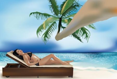 sunbathing: Beautiful girl lying on deckchair on the beach under a palm