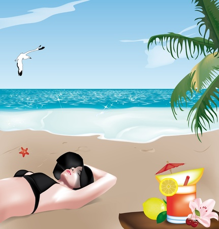 sexy bikini girl: Beautiful girl lying on the beach with a black hat and fruit cocktail